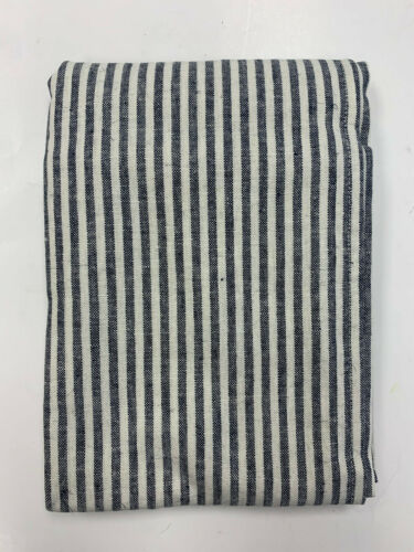 Pottery Barn Navy Blue Wheaton Striped Linen/Cotton Sham Euro
