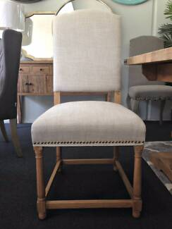 Hardwood American Oak Tiffany Linen Dining Chair Natural
