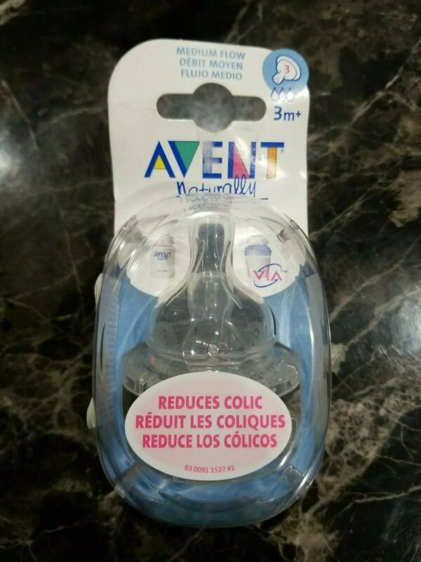Philips Avent Classic 2 Medium Flow Bottle Nipples 3m+ BPA Free Anti-colic