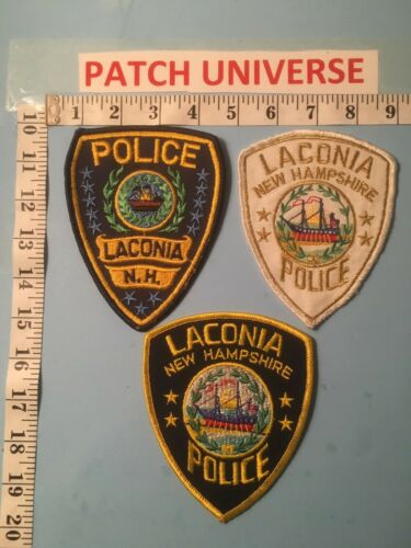 LOT OF 3 DIFFERENT LACONIA  NEW HAMPSHIRE  POLICE  SHOULDER PATCHES  M039