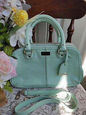 NWOT COLE HAAN Leather Light Green Shoulder Handbag Satchel Purse Gold Hardware Light Gold Hardware
