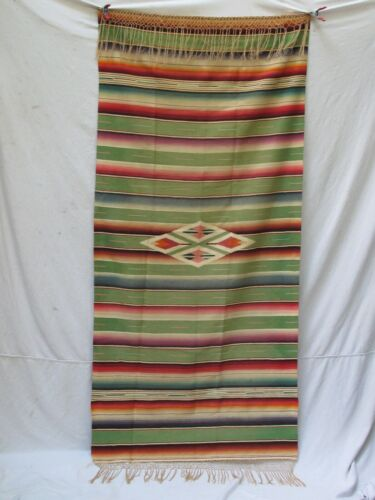 """Antique Mexican Saltillo Serape 36"""" X 78"""" not counting Fringe"""