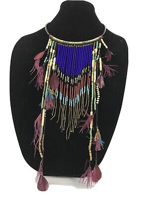 ZARA Bold Statement Necklace Mixed Media Collar Fringe Feathers Teal Wood Metal