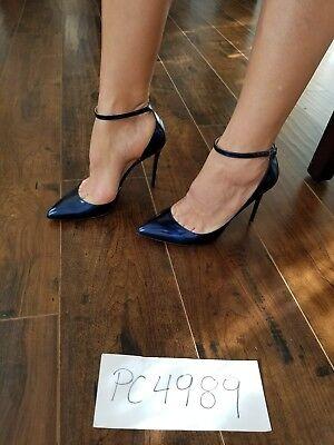 NWT Jimmy Choo LUCY metallic liquid blue heels pumps size 37.5 US 7 7.5