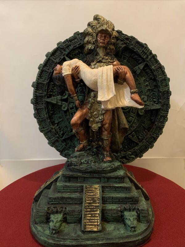 Aztec Calendar Statue Warrior  Popocatepetl Y Yztaccihual