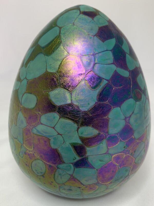 "BOROWSKI GLASSTUDIO GERMANY IRRIDESCENT ART GLASS EGG MADE IN POLAND 6"""
