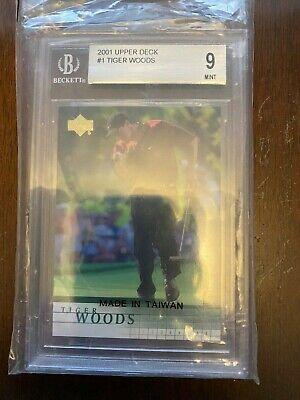 2001 Upper Deck Tiger Woods #1 Beckett Graded 9 Mint Rookie Card