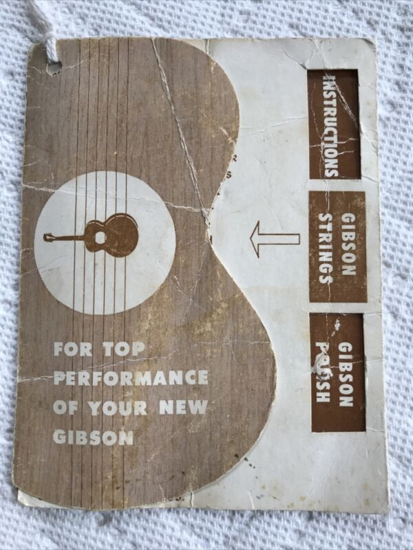 Original Vintage 1950's Gibson J 45 Acoustic Guitar Hang Tag