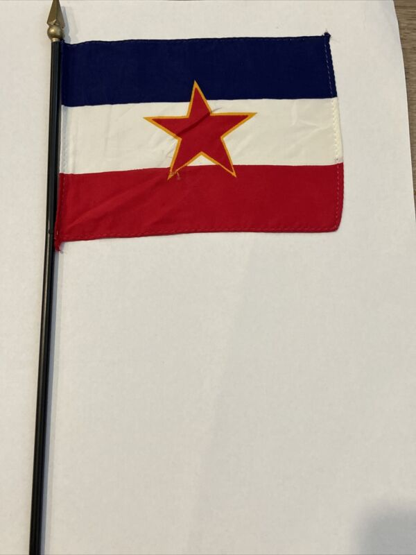 "Old Vintage Yugoslavia Communist Mini Desk Flag With A Small Hole 4""x6"""
