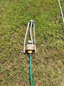 50' garden hose with sprinkler