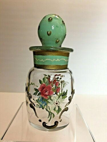 Antique Victorian ? Hand Painted Glass Bottle with Stopper