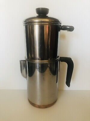 Coffee Maker Stovetop Coffee Maker Pot Copper Bottom SS Vintage Revere Ware 4-6 Cup Drip-o-lator
