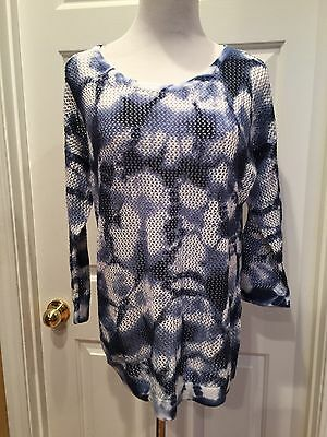 Jones New York Blue White XL Tie Dye 3/4 sleeve Pullover New $69 Sheer Cotton