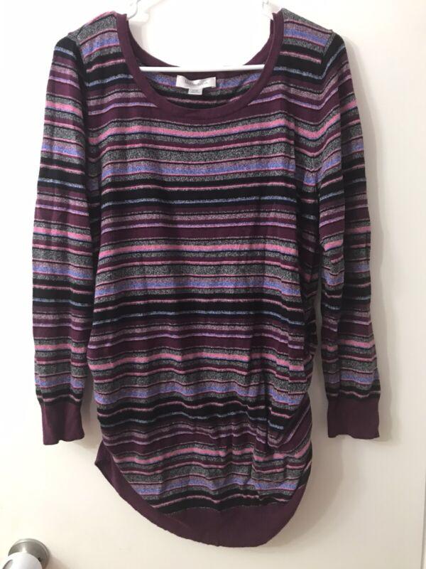 Women's XL XLarge Motherhood Maternity Burgundy Pink Black Stripe Sweater