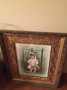 Antique Chromolithograph Little Queenie Framed