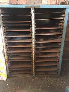 Metal typeset printers cupboard shelves cabinet Miranda Sutherland Area Preview