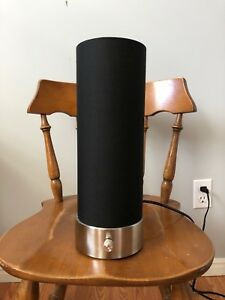 Modern black and stainless steel side table lamp