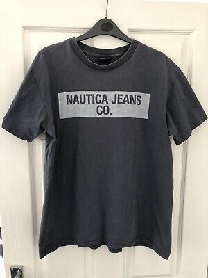 Nautica Jeans Company Men's Vintage 90's T Shirt Spell Out Medium M Grey