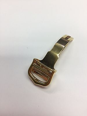 Cartier Yellow Gold Plated Stainless Steel Folding Deployment Buckle 14 mm - New