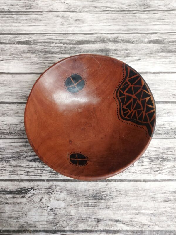 """Vintage Wooden Bowl Hand Painted 7"""""""