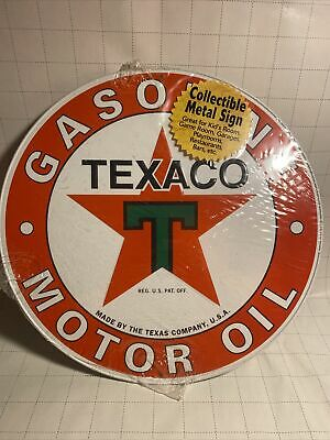 "VINTAGE TEXACO PETROLEUM PRODUCTS 11 1/2"" PORCELAIN METAL GASOLINE & OIL SIGN"