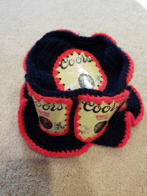 Vintage COORS Beer  Beer Can  Hat Crochet Knit Retro Handmade