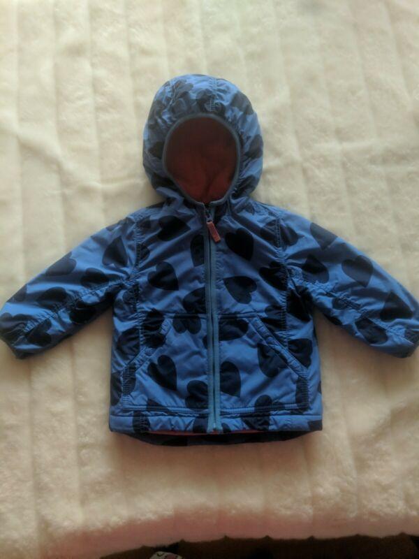 Mini Boden Girls Fleece Lined Jacket  Years Blue W/Dark Blue Hearts Size 1 1/2-2