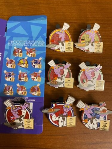 2021 Disney EPCOT Food & Wine Festival Figment Chef Pavilion Mystery Pins