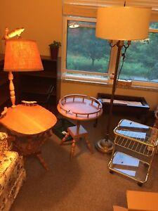 3 End Tables- 2 in wood and 1 in brass and a floor lamp  FREE