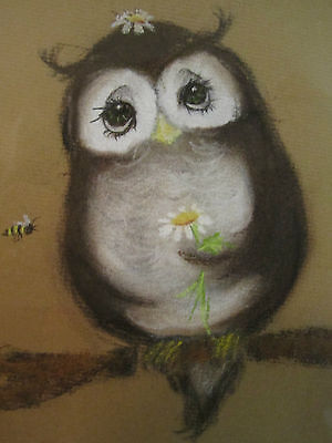 Vintage Original Pastel Art Owl in a Tree Daisies Bee Butterflies signed Suzi