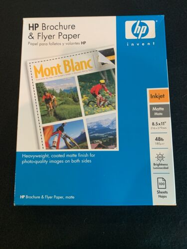 HP Brochure & Flyer Paper, Inkjet, Matte, 8/5 x 11, 48lb Weight, 100 Sheets