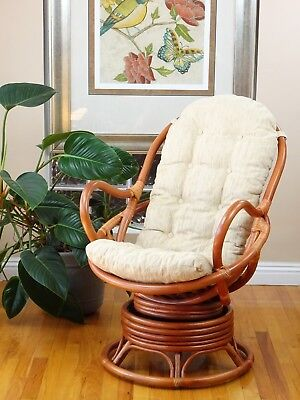 Java Handmade Design Rattan Wicker Swivel Rocking Chair with Cushion - Living Room Wicker Bench
