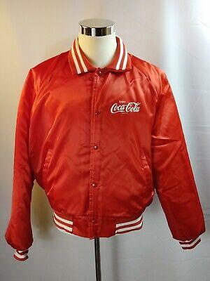 Vintage 1980's Chalkline Coca Cola Red Snap Front Satin Jacket Men's Size XL