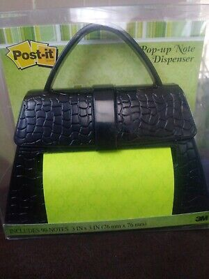 Post-it Brand Pop-up Note Dispenser Black Purse Pd-654-us Brand New