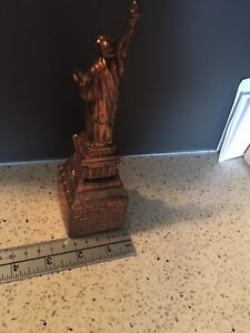 Vintage Spelter Statue of Liberty Bank Copper Wash