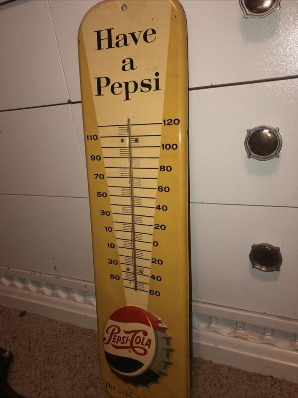 RARE have a pepsi thermometer soda sign display vintage tin metal