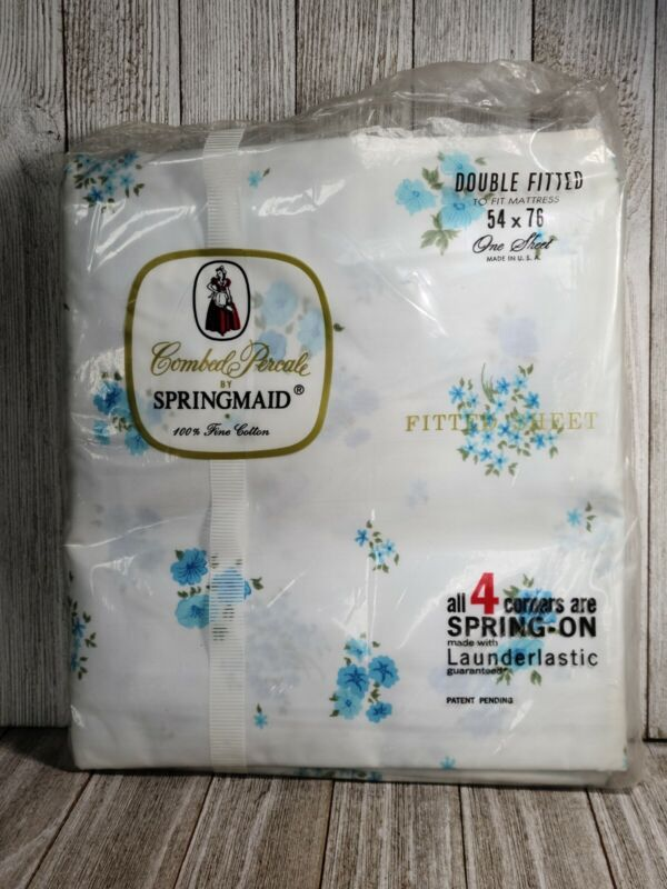 Vintage Springmaid 100% Cotton Combed Percale Floral Fitted Double Sheet