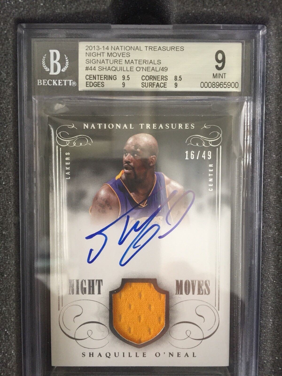 2013/14 national treasures night moves signature materials shaquille o'neal /49