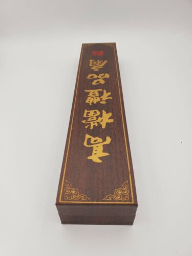 CHINESE FAN  WOOD HAND BIRD CRANE MOTIF RED CHOP MARK ON THE BOX
