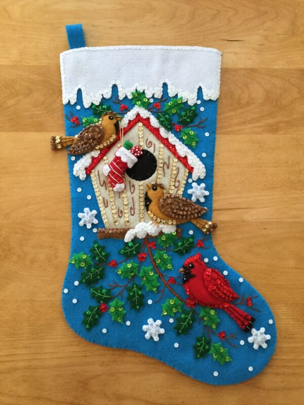 Christmas Birds - Bucilla Felt Christmas Stocking Finished - Hand Sewn 18 Inch