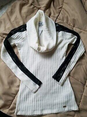 💖💖New BEBE IVORY WHITE black lace cowl neck long sleeve sweater TOP XXS 2x xs Black Lace Cowl