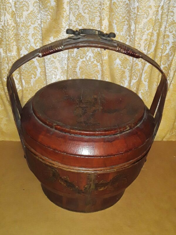 Antique Chinese Painted Red+Gold Gilt Wooden Wedding Bucket Basket Calligrapphy