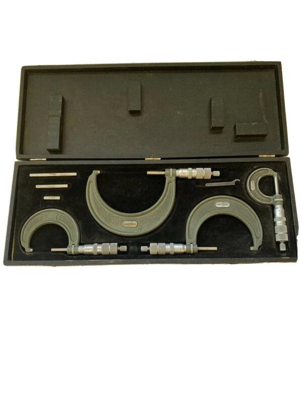 "Vintage CRAFTSMAN Micrometer Set of (4)   0-4""    Wood Case"