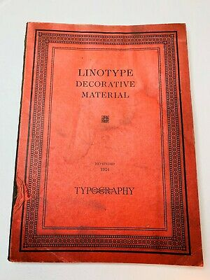 1924 Linotype Decorative Material Borders Rules Dashes Special Characters