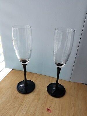 (Pair (2) of Black Stem Champagne Toasting Flutes 6 oz 8 3/4