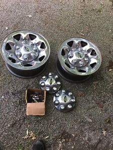 Ford F250 chrome rims with caps