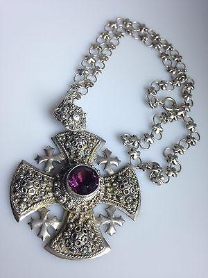 Rare Vintage 900 Sterling Silver Crusaders Jerusalem Cross Necklace Maltese