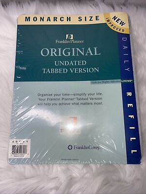 Monarch Undated Tabbed Version Refill Set Franklin Covey Planner 8 12 X 11