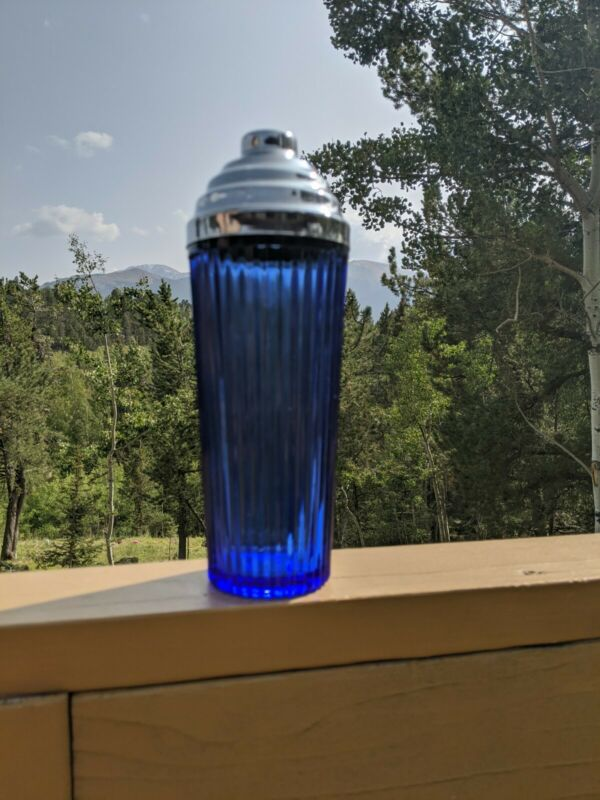 Vintage Large Cocktail Shaker Cobalt Blue Glass Ribbed Barware Collectible