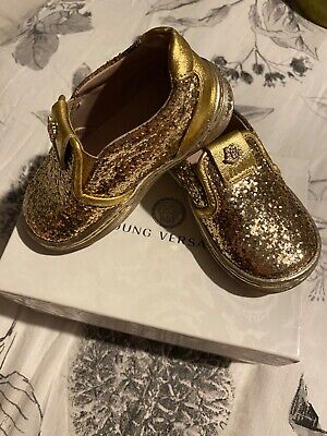 Girls young versace glitter gold shoes, size 4 excellent condition hardly worn